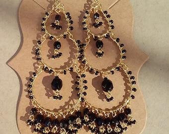 Chandelier Earrings, Black Bead Chandelier Earrings, Beaded Earrings,