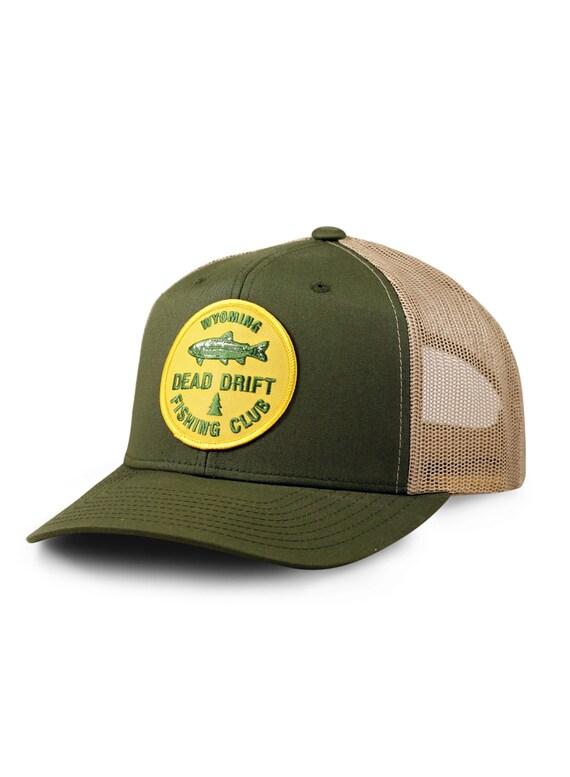 Fly fishing club hat trucker snapback mesh back trout for Fishing snapback hats