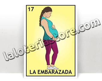 La Embarazada Loteria - Pregnant Woman Mexican Bingo Art Print - Poster - Many Sizes