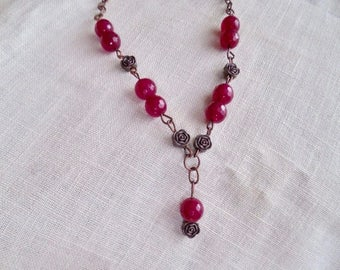 Red Agate and antiqued copper necklace