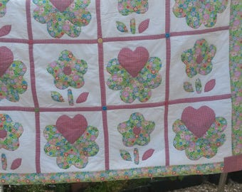 Hand Made generous single Patchwork Quilt