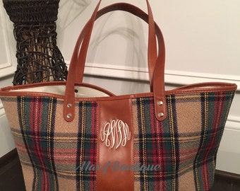 Monogrammed Plaid Tote - Personalized Camel Plaid handbag