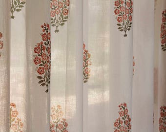 Curtains, window curtains, white curtains, floral curtains, decor curtains, curtains drapes, Indian curtains, bedroom curtains, cotton