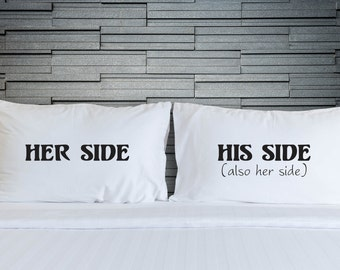 Couples Pillowcases Novelty His Side Her Side Marriage Wedding Valentines Day Couple Printed Gifts Bedroom Bedding WSD839