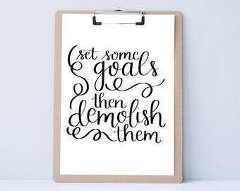 Goals college dorm Hand lettered art, typography gift, success holiday present, bedroor decor quote, card, mom sister friend dad brother
