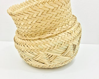 Vintage Tribal Reed Basket Planter