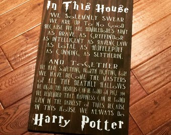 In This House We Do Harry Potter - Large Wooden Sign - Harry Potter - Gallery Wall - Home Decor