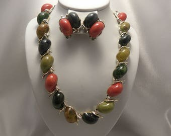 Vintage Green, Olive, Rust & Taupe Marbled Egg Cabochon Demi Necklace, Earring Set