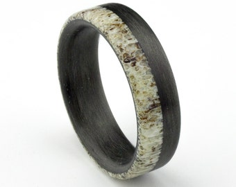 Men's  Carbon fiber and Deer Antler  ring. Modern  wedding band    (Ready to ship)