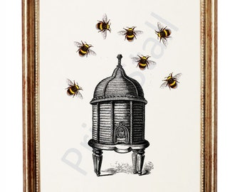 Bumble Bee Print, Bee Hive Illustration, Hive with Bumble Bees Home Decor, Bee Hive Wall Art, White Paper Art Print A5 or A4