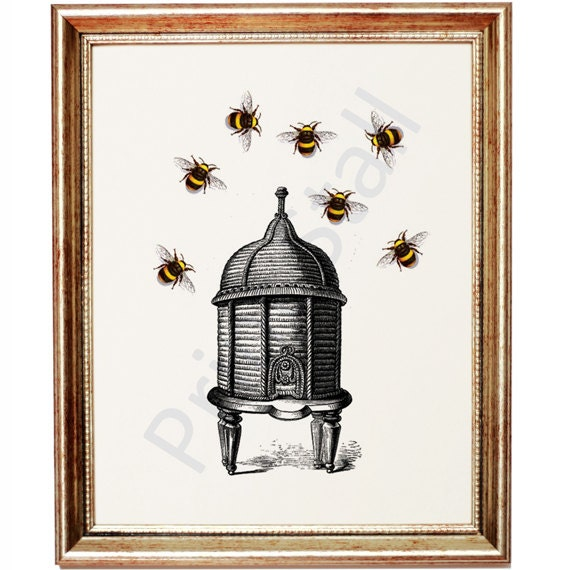 Items similar to bumble bee dictionary art print bee hive for Bee decorations for the home