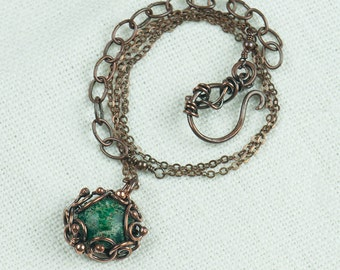 Fehlana - copper, wire wrapped pendant with green jasper, handcrafted, wire wrap, wire wrapping, rustic,vintage,steampunk,tiny,forest,nature