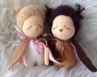 Couple Owl doll toy. Coulpe cloth doll. Stuffed Owl. Wedding doll. Miniature artdoll. Owl nursery decor. Woodland animal doll.