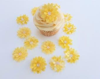 14 Edible Lemon Heaven 3D Wafer Flowers Cupcake Toppers Precut