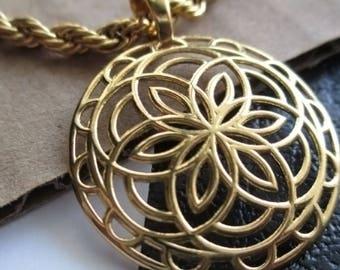 Gold-Plated Flower Sigil Charm Pendant