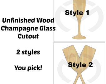 Unfinished Wood Champagne Glass Laser Cutout, Wreath Accent, Door Hanger, Ready to Paint & Personalize, Various Sizes, 2 Styles, Wedding