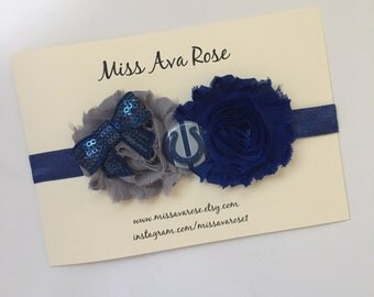 Indianapolis Colts inspired bow, Colts bow, NFL bow headband