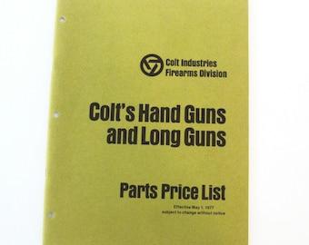 Vintage 1977 Colt's Hand Guns and Long Guns Parts Price List