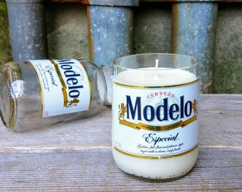Modelo Mexican Beer Bottle Handmade Scented Soy Candle