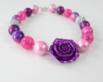Purple and pink chunky gumball necklace with Purple Rosette pendant 4052