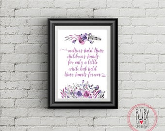 Mothers hold their children's hands, wall print, wall decor, home, interiors, wall art, mum, mothers day, gift, grandmother, quote, mother