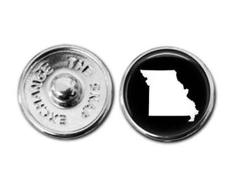 Missouri charm, Missouri map charm, snap button jewelry, button snap jewelry, button jewelry, snap charm jewelry, snap jewelry