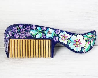 Summer party Hand painted wood comb, Wooden Comb, Hair brush Wood, Hair care, Brush spa massage, Wood brush, Wooden long hair, floral comb