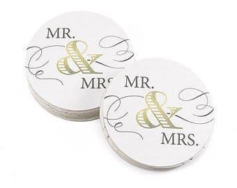 Mr. & Mrs. Wedding Drink Coasters (Pack of 25) Wedding Reception Decorations