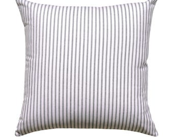 Ticking Stripe Pillow Cover, Premier Prints Classic Black Pillow Cover, Black White Striped Pillow with Invisible Zipper, Black Sofa Pillow