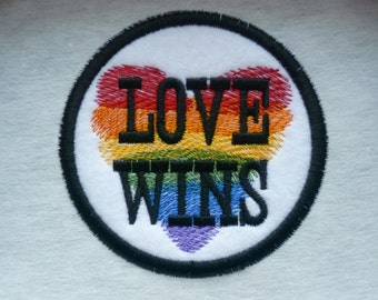 Love Wins Patch Embroidered Sew on Patch Patches Fabric Badge LGBTQ Gay Pride Solidarity Felt fabric
