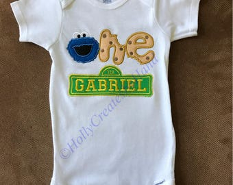 Embroidered Cookie Monster Birthday 1st Birthday Shirt Cookie Monster 1st Birthday Shirt or Onesie