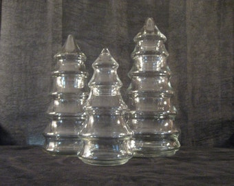 Vintage Set of Three Glass Christmas Tree Jars With Lids   Three Different Sized Containers   Libby Jars   All Glass   Decoration   Storage