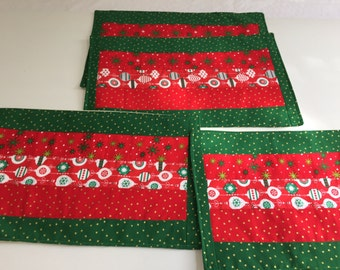 Christmas Placemats, Winter Place Mats, Custom Placemats, Kitchen Table Linens, Christmas Decor, Winter Decor, Red and Green Placemats