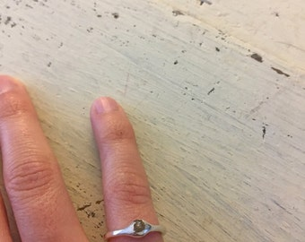 Raw Montana Sapphire Sterling Silver Ring - Size 5 1/2