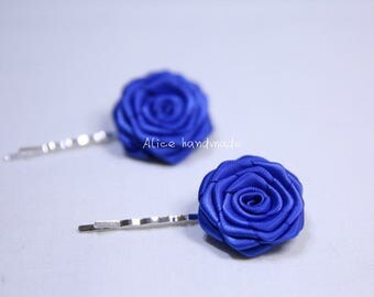 Set of 2pcs Double Faced Satin Ribbon Royal blue Bobby Pins. Handmade Bobby Pins. Ready to Ship