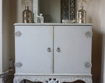 Ornate Old White Painted Vintage Cupboard or Dresser