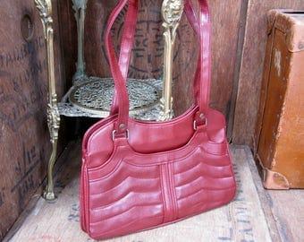 1970s Handbag, Vintage Bag, Vintage Purse, Over Arm Bag, Rust Handbag, Symbag, Top Handle Bag, Red Purse, Red Handbag, Organiser Bag