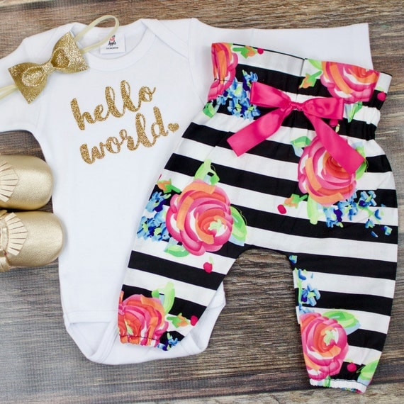 Fall coming home outfit for girls. Your new little girl will be on trend in a chambray onesie, and these crib shoes perfectly complete this coming home outfit for a baby girl.
