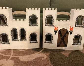 Handpainted wooden fold-up castle