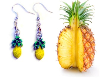 Juicy Pineapple Earrings, 925 Sterling Wires, Fruit Jewelry, Fruit Salad, Tropical Vacation Hawaiian