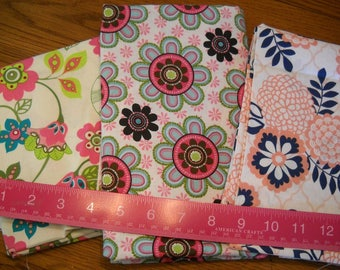 Destash- 3 Cotton Floral Fabric Remnants