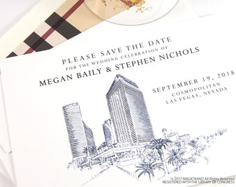 Cosmopolitan Las Vegas Wedding Save the Date Cards, Save the Dates, Vegas Skyline, Wedding, Hand Drawn (set of 25 cards and envelopes)