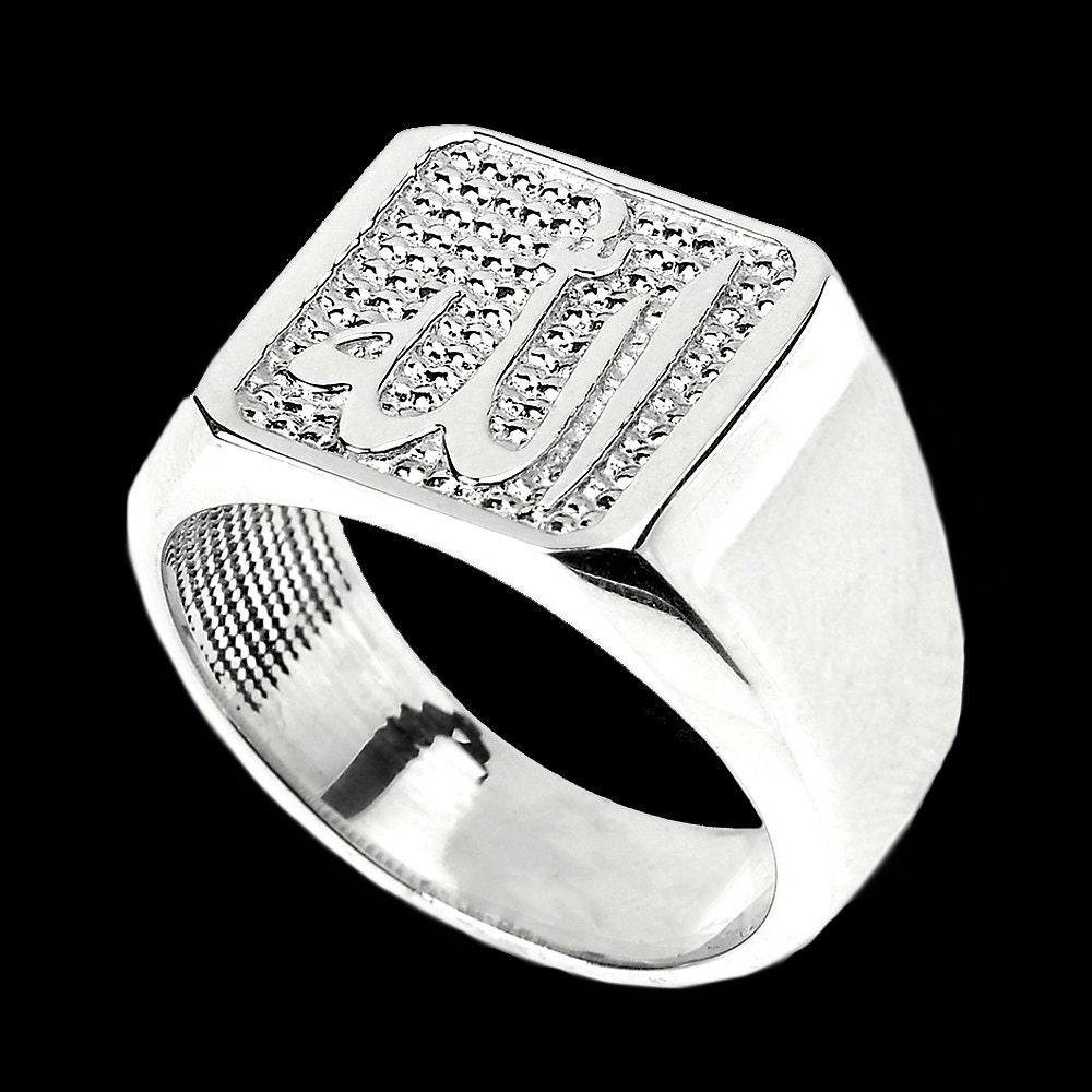 Allah الله Sterling Silver Ring  Mens Islamic Allah Ring  Arabic Chosen  One God Rings