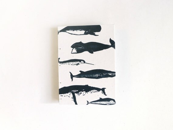 Whale Notebook / Blank Journal / Nautical Ocean Journal / Hand Bound Coptic Book