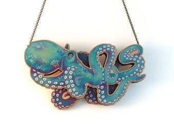 Laser Cut Teal Octopus Kraken Statement Necklace - illustrated layered wood - Tentacle Octopus Kraken Mermaid Jewellery Jewelry Gift