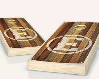 Barn Wood Monogrammed Cornhole Board set With CUSTOM TEXT!! 8 Bags You Pick Colors!!