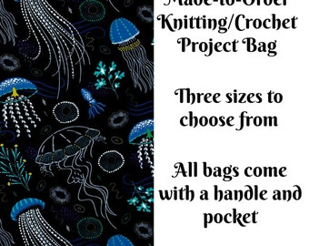 Knitting Project Bag, Sock Knitting Bag, Medium, Large, Sweater, Crochet Bag, Cross Stitch, Made to Order, Into the Deep in Lagoon,