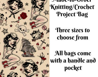 Knitting Project Bag, Suzy Sailor, Sock Knitting, Zippered Bag, Crochet Bag, Sweater Project Bag, Large Bag, Octopus