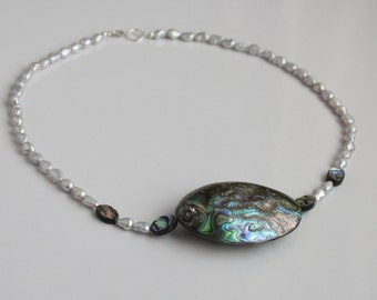 grey freshwater pearl and abalone shell necklace