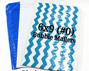 15 Poly Bubble Mailers/Size:6x9 (#0)/Blue | Gray | Teal Chevron | Packing Supplies/Peel and Seal